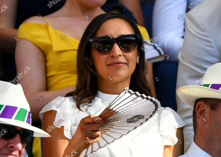 Dame Jessica Ennis fans herself in the Royal Box