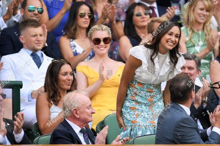 Jessica Ennis in the Royal Box with Adam Peaty and Camilla Kerslake behind