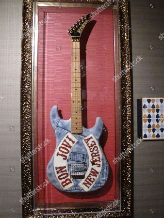 "This photo shows the guitar played by Bon Jovi guitarist Richie Sambora during the band's ""New Jersey"" tour from 1988 to 1990., part of a large collection of music memorabilia on display at the Hard Rock casino in Atlantic City, N.J"