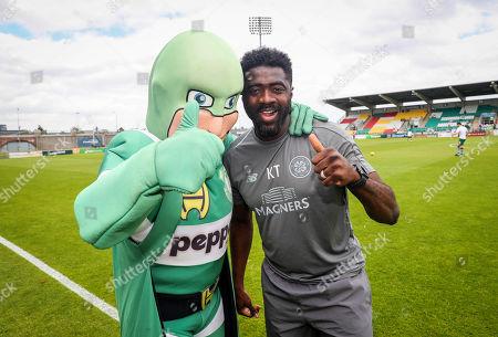 Shamrock Rovers vs Celtic. Rovers' mascot Hooperman with Celtic coach Kolo Toure