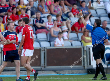 Cork vs Tyrone. Cork's Mark Collins red carded by referee Maurice Deegan