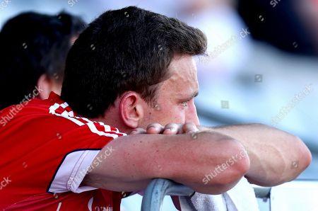 Cork vs Tyrone. Cork's Mark Collins dejected