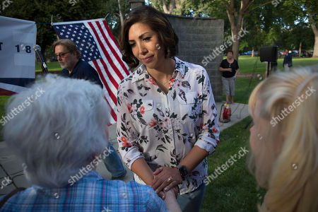 Democratic gubernatorial candidate Paulette Jordan greets attendees during the Idaho District 18 Democrats Campaign Kickoff BBQ in Boise, Idaho. Jordan breaks the mold of the typical candidate in Idaho elections. She's the first woman to win the party's nomination for governor of a state that hasn't elected a Democrat to the top seat in almost 30 years. And if she pulls the upset against Lt. Gov. Brad Little in November, Jordan, a member of the Coeur d'Alene Tribe, will be the first Native American governor of a U.S. state