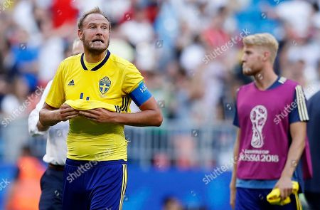 Sweden's Andreas Granqvist stands after the quarterfinal match between Sweden and England at the 2018 soccer World Cup in the Samara Arena, in Samara, Russia