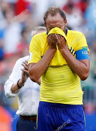 Sweden's Andreas Granqvist reacts after the quarterfinal match between Sweden and England at the 2018 soccer World Cup in the Samara Arena, in Samara, Russia