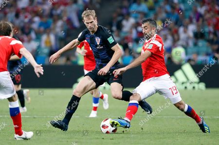 Stock Picture of Ivan Strinic of Croatia and Aleksandr Samedov of Russia