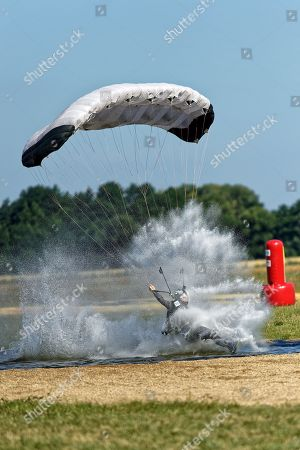 Stock Image of Justin Price of the USA in action during the 1st FAI World Canopy Piloting Freestyle Championship 2018 in Szymanow Airport near Wroclaw, Poland, 07 July 2018.