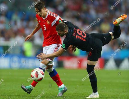 Ilya Kutepov of Russia and Ante Rebic of Croatia