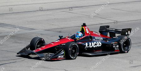 Robert Wickens (6) drives his car during practice for the IndyCar Series auto race, at Iowa Speedway in Newton, Iowa