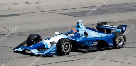 Ed Jones (10) drives his car during practice for the IndyCar Series auto race, at Iowa Speedway in Newton, Iowa