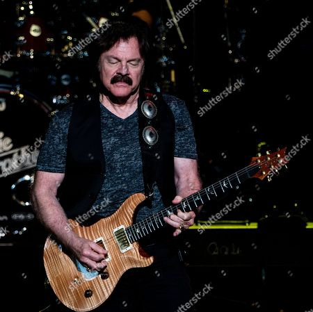 Stock Image of The American iconic rock band, The Doobie Brothers with lead guitarist and founding member Tom Johnston performs at the Xfinity Center, in Mansfield, Mass