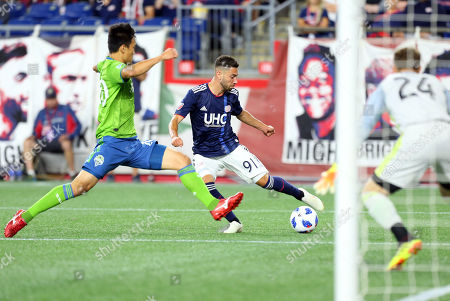 Stock Photo of , 2018; Foxborough, MA, USA; New England Revolution defender Gabriel Somi (91) in action during an MLS match between Seattle Sounders FC and New England Revolution at Gillette Stadium. The match ended in a 0-0 draw
