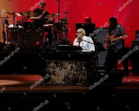 American rock band Steely Dan, featuring founder and keyboardist Donald Fagen, center, performs at the Xfinity Center, in Mansfield, Mass