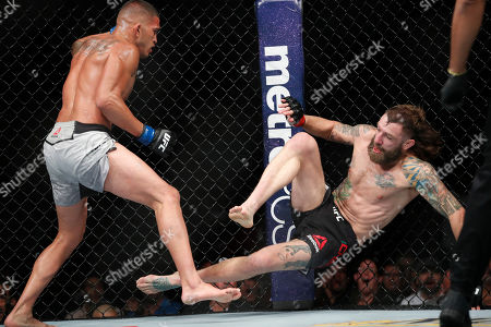 Anthony Pettis knocks down Michael Chiesa in a lightweight mixed martial arts bout at UFC 226, in Las Vegas