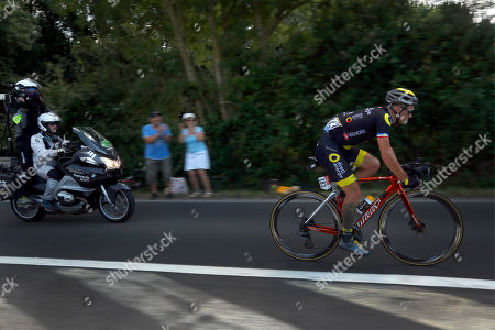 France's Sylvain Chavanel rides in a breakaway during the second stage of the Tour de France cycling race over 182.5 kilometers (113.4 miles) with start in Mouilleron-Saint-Germain and finish in La Roche Sur-Yon, France
