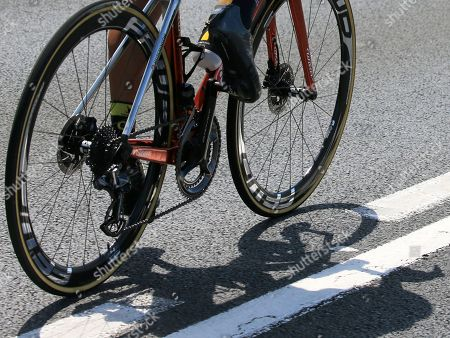 France's Sylvain Chavanel rides with controversial disc brakes during the second stage of the Tour de France cycling race over 182.5 kilometers (113.4 miles) with start in Mouilleron-Saint-Germain and finish in La Roche Sur-Yon, France, . The disc brakes can cause serious injuries when riders crash in the pack