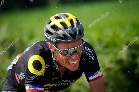 France's Sylvain Chavanel strains as he rides breakaway during the second stage of the Tour de France cycling race over 182.5 kilometers (113.4 miles) with start in Mouilleron-Saint-Germain and finish in La Roche Sur-Yon, France