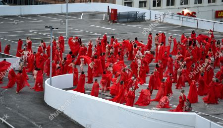 Stock Picture of People participate in a photo shoot for contemporary New York artist Spencer Tunick, as he photographs nude Melburnians for his latest piece, 'Return of the Nude', for part of Chapel Street Prahran's Provocare festival in Melbourne, Australia, 09 July 2018.