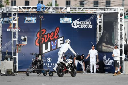 Editorial image of Travis Pastrana recreates Evel Knievel's iconic motorcycle jumps, Las Vegas, USA - 08 Jul 2018