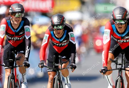BMC Racing Team riders Tejay van Garderen of the US (L), Richie Porte of Australia (C) and Greg van Avermaet of Belgium (R) during the 35.5km team Time trial in the 3rd stage of the 105th edition of the Tour de France cycling race in Cholet, France, 09 July 2018.