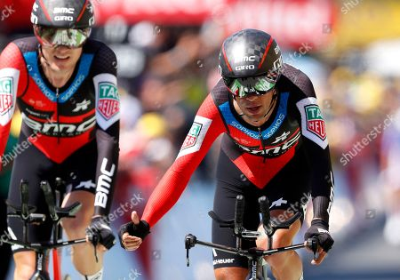 BMC Racing Team riders Tejay van Garderen of the US (L) and Richie Porte of Australia (R) during the 35.5km team Time trial in the 3rd stage of the 105th edition of the Tour de France cycling race in Cholet, France, 09 July 2018.
