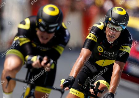 Direct Energie team rider Sylvain Chavanel of France (R) during the 35.5km team Time trial in the 3rd stage of the 105th edition of the Tour de France cycling race in Cholet, France, 09 July 2018.