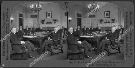 The President of the United States, Calvin Coolidge, and his Cabinet, Washington DC, USA, Stereo Card, Keystone View Company, 1925