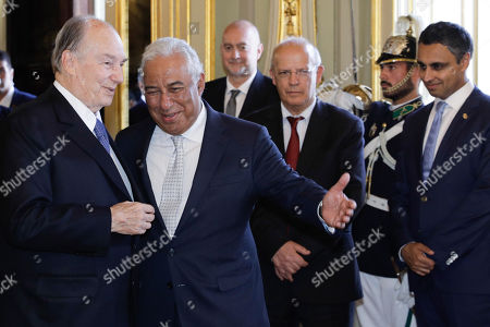 The spiritual leader of Shia Imami Ismaili Muslims, Prince Karim Aga Khan (L) is welcomed by Portuguese Prime Minister Antonio Costa (2-L), before a lunche at Foz Palace in Lisbon, Portugal, 09 July 2018.