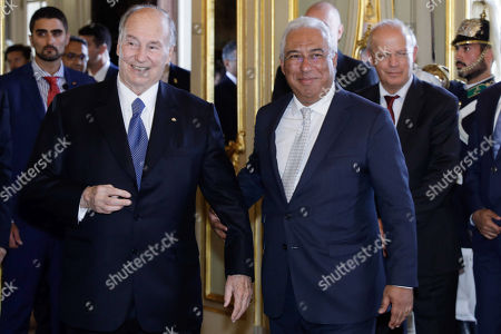 The spiritual leader of Shia Imami Ismaili Muslims, Prince Karim Aga Khan (L) is welcomed by Portuguese Prime Minister Antonio Costa (R), before a lunche at Foz Palace in Lisbon, Portugal, 09 July 2018.