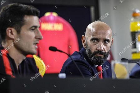 AS Roma's sports director Ramon Rodriguez Verdejo (R), known as Monchi, attend a press conference for the presentation of Spanish Ivan Marcano in Trigoria, Rome, Italy, 9 July 2018.
