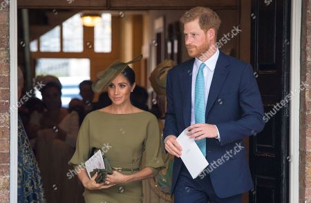 Stock Picture of Prince Harry and Meghan Duchess of Sussex depart after attending the christening of Prince Louis at the Chapel Royal, St James's Palace