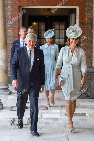 Michael and Carole Middleton arriving for the christening of Prince Louis, the youngest son of the Duke and Catherine Duchess of Cambridge at the Chapel Royal, St James's Palace