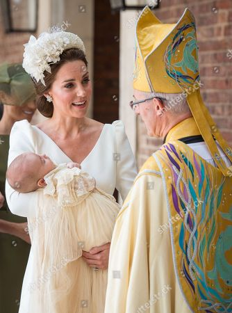Catherine Duchess of Cambridge speaks to Archbishop of Canterbury Justin Welby as she arrives carrying Prince Louis for his christening service at the Chapel Royal, St James's Palace