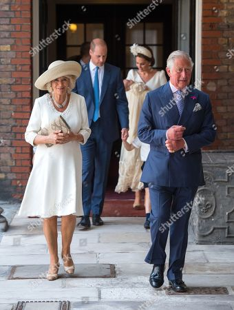 Stock Image of Prince Charles and Camilla Duchess of Cornwall arriving for the christening of Prince Louis, the youngest son of the Duke and Catherine Duchess of Cambridge at the Chapel Royal, St James's Palace