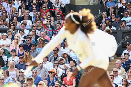 Jessica Biel and Justin Timberlake (circled) watching Serena Williams during her Ladies' Singles quarter final match