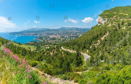 Bay of Cassis on the Route des Cretes, Cassis, Provence-Alpes-Cote d'Azur, France