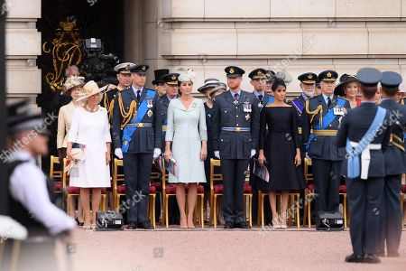 Stock Image of Prince Anne, Camilla Duchess of Cornwall, Tim Laurence, Prince William, Catherine Duchess of Cambridge, Prince Harry, The Duke of Kent, Meghan Duchess of Sussex, Prince Michael of Kent, Prince Andrew and Princess Michael of Kent
