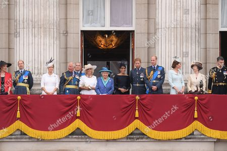 Princess Michael of Kent, Prince Edward, Sophie Countess of Wessex, Prince Charles, Prince Andrew, Camilla Duchess of Cornwall, Queen Elizabeth II, Meghan Duchess of Sussex, Prince Harry, Prince William, Catherine Duchess of Cambridge, Princess Anne and Tim Laurence on the balcony of Buckingham Palace