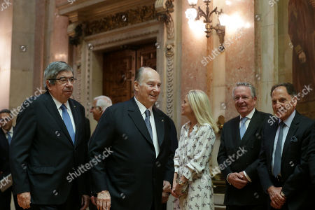 Spiritual leader of ismaili comunity, Prince Karim Aga Khan (R) is received by the President of the portuguese parliament, Ferro Rodrigues (L) 10th july 2018. Prince Karim Aga Khan is celebrating his diamond jubilee in the portuguese capital, on a serie of cultural events.