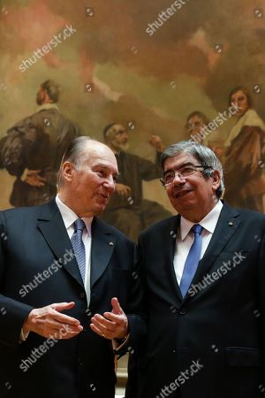 Spiritual leader of ismaili comunity, Prince Karim Aga Khan (L) is received by the President of the portuguese parliament, Ferro Rodrigues (R) 10th july 2018. Prince Karim Aga Khan is celebrating his diamond jubilee in the portuguese capital, on a serie of cultural events.