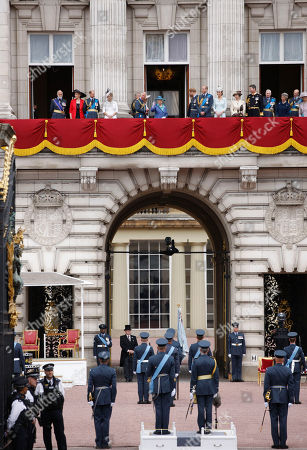 Princess Michael of Kent, Prince Edward, Sophie Countess of Wessex, Prince Charles, Prince Andrew, Camilla Duchess of Cornwall, Queen Elizabeth II, Meghan Duchess of Sussex, Prince Harry, Prince William, Catherine Duchess of Cambridge, Princess Anne and Tim Laurence on the balcony of Buckingham Palace at Buckingham Palace to watch the RAF Fly Past