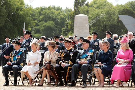 (L-R) Prince Edward, Sophie Countess of Wessex, Princess Anne, Tim Laurence, Duke of Gloucester, Duke of Gloucester and Birgitte, Duchess of Gloucester attend the RAF 100 ceremony on Horse Guards Parade