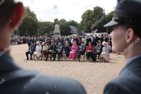 (L-R) Prince Edward, Sophie Countess of Wessex, Princess Anne, Tim Laurence, Duke of Gloucester, Duke of Gloucester and Birgitte, Duchess of Gloucester, guest, Prince Michael of Kent, Princess Michael of Kent, Prince Edward, Duke of Kent and Princess Alexandra of Kent attend the RAF 100 ceremony on Horse Guards Parade