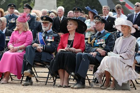 (from 2nd L) Prince Michael of Kent, Princess Michael of Kent, Prince Edward, Duke of Kent and Princess Alexandra of Kent attend the RAF 100 ceremony on Horse Guards Parade