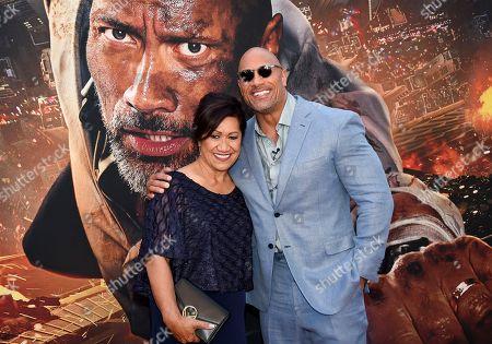 "Ata Johnson, Dwayne Johnson. Actor Dwayne Johnson and mother Ata Johnson attend the ""Skyscraper"" premiere at AMC Loews Lincoln Square, in New York"
