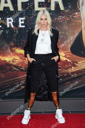 "Lauren Wasser attends the ""Skyscraper"" premiere at AMC Loews Lincoln Square, in New York"