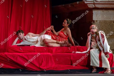 Stock Picture of Spanish actors (L-R) Raul Arevalo, Diana Palazon and Francisco Vidal perform on stage during the dress rehearshal of the play 'Nero' as part of Merida's Classic Theatre International Festival, at the Roman Theatre in Merida, southeastern Spain, 10 July 2018.