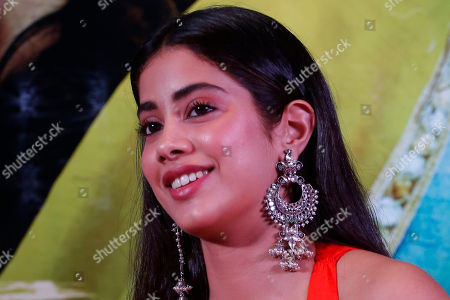 """Bollywood actor Janhvi kapoor smiles during a promotion of her upcoming movie """"Dhadak"""" in Ahmadabad, India, . The movie is scheduled for release on July 20"""