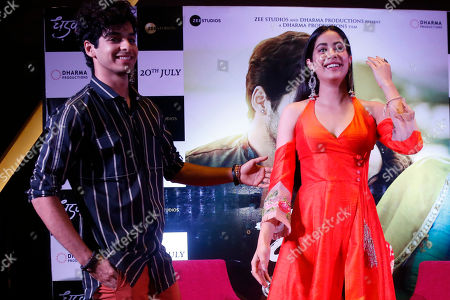 """Janhvi kapoor, Ishaan Khatter. Bollywood actors Janhvi kapoor, right and Ishaan Khatter pose for photographs during a promotion of their upcoming movie """"Dhadak"""" in Ahmadabad, India, . The movie is scheduled for release on July 20"""