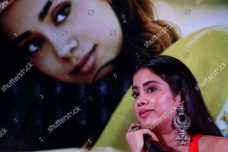 """Bollywood actor Janhvi kapoor sits during a promotion of her upcoming movie """"Dhadak"""" in Ahmadabad, India, . The movie is scheduled for release on July 20"""